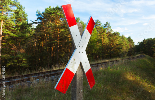 """Sign """"Railroad Crossing"""" in the Countryside in Germany"""