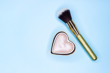 Brush For Makeup On A Blue Bac...