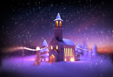 A Festive Church Scene At Christmas With Decorative Lights And Snowfall. 3D Illustration