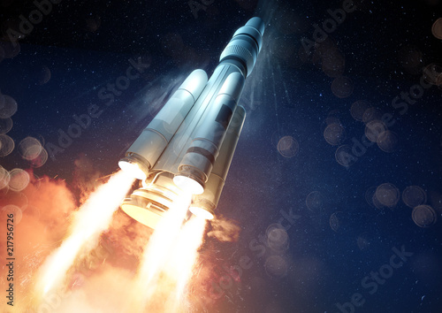 Fototapeta Explosive Rocket Launch