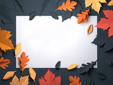 Folded Paper Art Origami. Seasonal Autumn Leaves Background. 3D Illustration