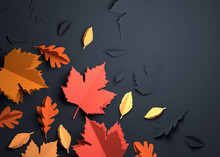 Folded Paper Art Origami. Seasonal Autumn Leaves On A Dark Background. 3D Illustration