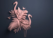 canvas print picture - Folded Paper art origami.Tropical background with flamingos. 3D illustration.