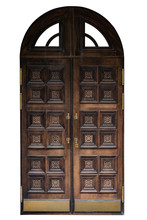 Ornate Wooden Door With Beautiful Carvings Isolated On White Background