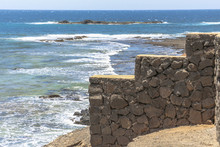 Stone Wall On South End Of Fuerteventura