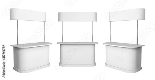 Fotografía  Promotion counter mockup. Isolated vector retail trade stand.