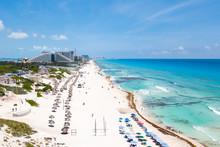 Cancun Beach Aerial View In Mexico