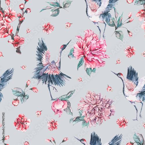 Leinwandbilder - Vector nature card with crane, pink flowers peonies