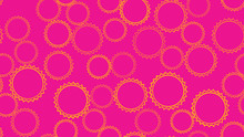 Texture Seamless Pattern From Set Of Multi-colored Simple Round Abstract Carved Bubbles Circles Of Geometric Shapes Of Gears With Sharp Edges On A Pink Background. Vector Illustration