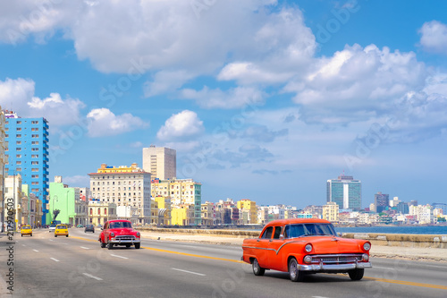 The famous Malecon avenue with a view of the the Havana skyline Wallpaper Mural