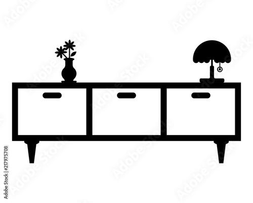 black cupboard furniture furnishing household interior exterior home image vecto Wallpaper Mural