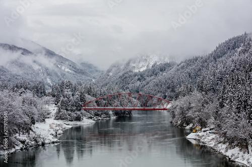 Fototapeta Japan countryside winter landscape at Mishima town obraz na płótnie