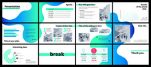 Business Presentation Template With Green And Blue Gradient Fluid Shapes On White Background.