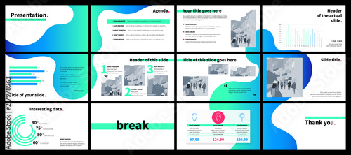 Fototapeta Business presentation template with green and blue gradient fluid shapes on white background. obraz