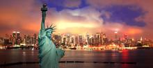 The New York City Midtown Skyline At Night