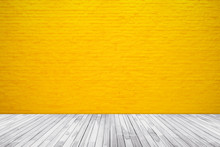 Yellow Brick Wall Texture With...