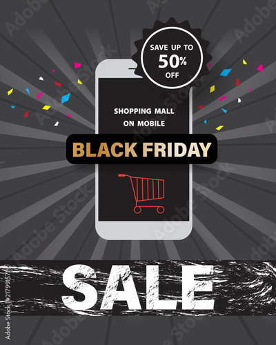 Black friday sale with shopping mall on mobile online at