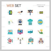 Web Icon Set. Internet Data Flow Web Camera Online Recruitment Server Man With Megaphone Strategic Control Changes Adaptation Cohesion Structure Inserting Design Computer Monitor