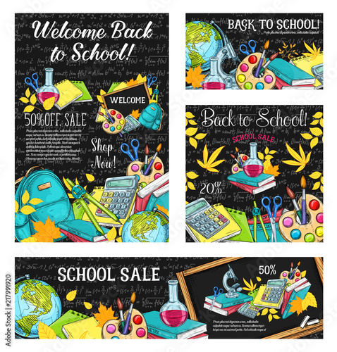 Deurstickers Graffiti collage Back to school sale banner or discount card design