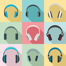 Headphones Music Listen Speakers Headset Icons Set. Flat Illustration Of 9 Headphones Music Listen Speakers Headset Vector Icons For Web