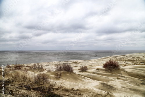 Beautiful view on sand dunes of the Curonian spit. Nida in Lithuania and Kaliningrad region in Russia #217995138