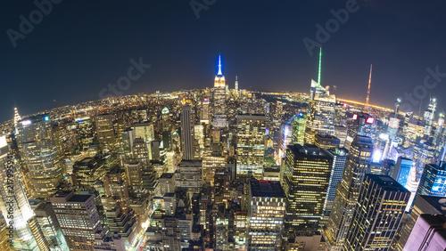 Deurstickers New York City New York City at night, fisheye view