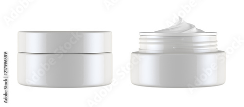 cosmetics jar isolated on white background, 3D rendering Fototapeta