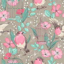 Romantic Seamless Patterns With Wild Roses, Robin Birds, Cages,