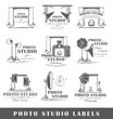 Set of vintage photo studio labels