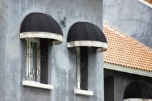 Black Curve Awning Over The Windows, House Decoration Shading