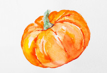 Hand Painted Watercolor Pumpki...