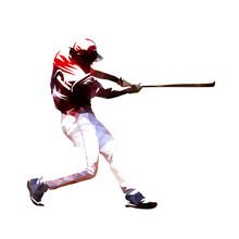 Baseball Player Swinging With Bat, Isoalted Polygonal Vector Illustration