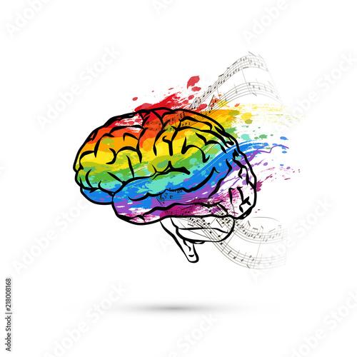 Obraz Creative hemisphere of human brain, concept illustration on white - fototapety do salonu