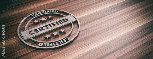Round metal sign with text cerified on wooden background, banner, copy space Canvas Print