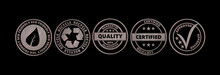 Metal Round Badges With Text Isolated Cutout On Black Background, Banner. 3d Illustration