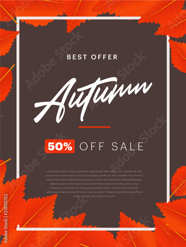 autumn background layout decorate with leaves for shopping sale or