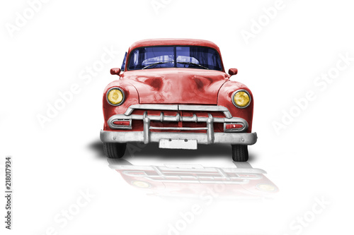 Fotografija  old american car red color on white background