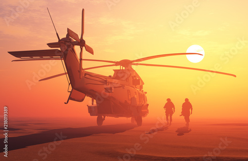 Helicopters and people.