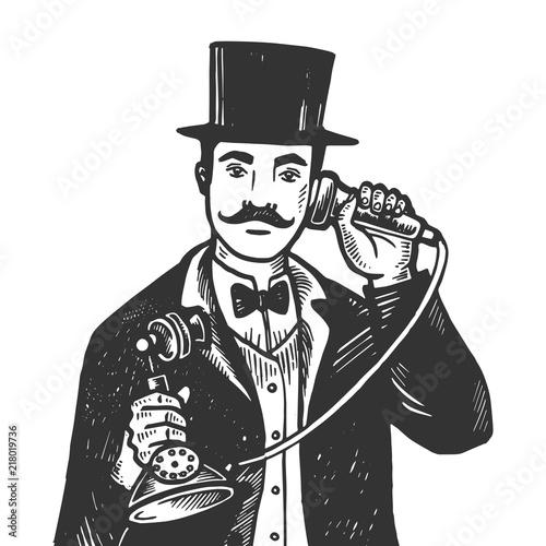 Fotomural Gentleman with phone engraving vector illustration