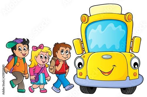 Poster Voor kinderen Children by school bus theme image 3
