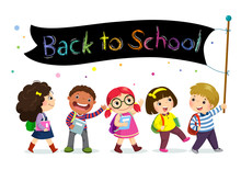 School Kids Holding Back To School Banner