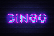 Bingo Neon Text Vector. Lotter...