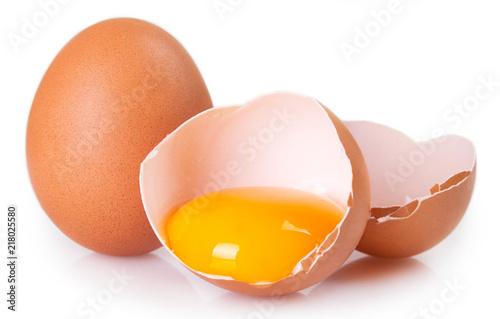 Cuadros en Lienzo  Raw eggs on white background