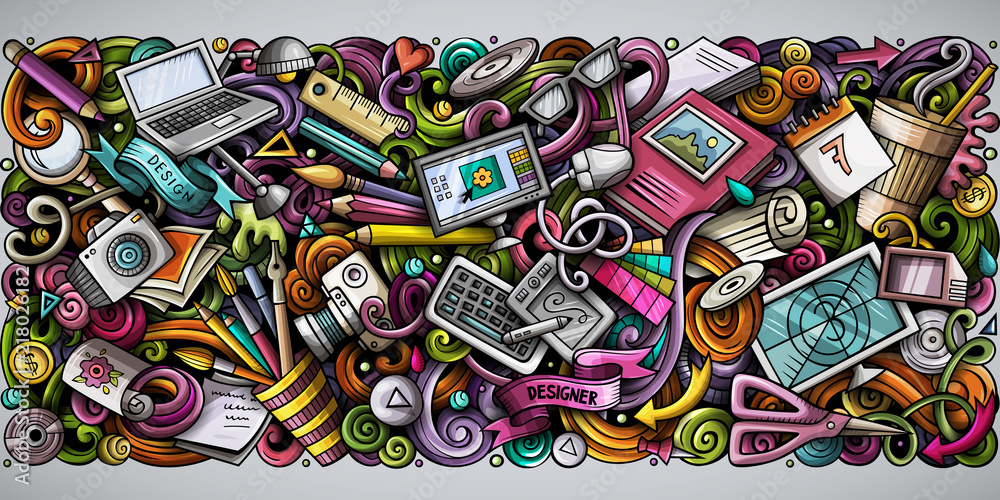 Fototapety, obrazy: Cartoon vector doodles Art and Design horizontal stripe illustration