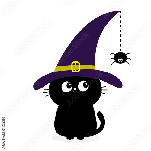 Black Cat Silhouette Looking To Hanging On Dash Line Web Spider Insect Witch Hat Cap Happy Halloween Baby Pet Animal Collection Cute Cartoon Character Flat Design White Background Buy This Stock