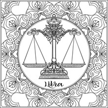 Libra, Weigher. Decorative Zodiac Sign On Pattern Background. Outline Hand Drawing. Good For Coloring Page For The Adult Coloring Book Stock Vector Illustration.