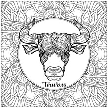 Taurus, Bull, Ox. Decorative Zodiac Sign On Pattern Background. Outline Hand Drawing. Good For Coloring Page For The Adult Coloring Book Stock Vector Illustration.
