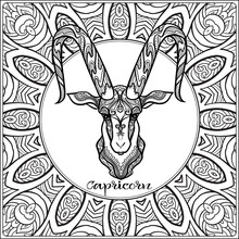 Capricorn, Goat. Decorative Zo...