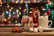 Gingerbread  With Mug Of Hot Chocolate And Candy Cane.