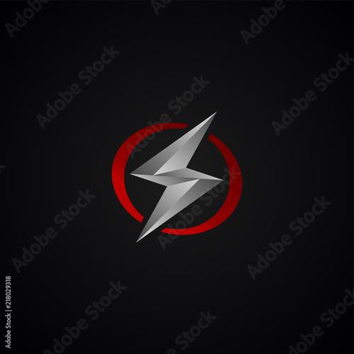 Fotografie, Obraz  red silver lightning bolt thunder sign